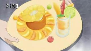 マンゴーソース、オレンジのサバラ、パインアイス添え