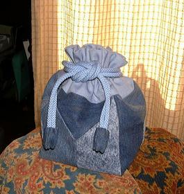 ジーンズパッチの巾着