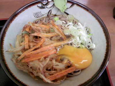 冷やしかき揚げ蕎麦+卵
