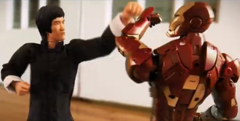 ストップモーションでアイアンマン vs ブルース・リー。