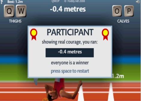 ブラウザゲームのQWOP。10メートルも走るのが難しい。