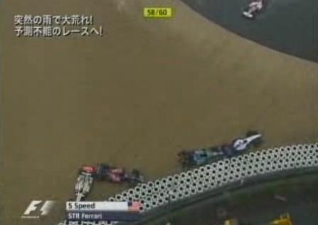 雨でスピン続出。マリオカートのようなツルツルレース。2007年ヨーロッパGP