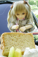 ケーキをぶっさす。