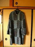 大島紬のハーフコート