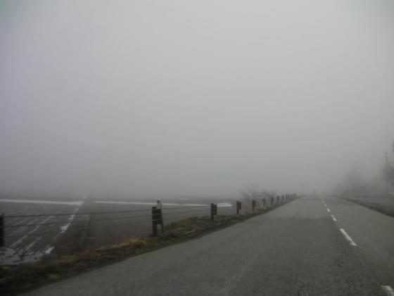 722 佐野坂交差点右折後の田園地帯。深い霧に覆われていましたが、田んぼの雪は殆ど融けたのが見えました