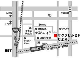 中崎町の雑貨屋ひよりさんの地図