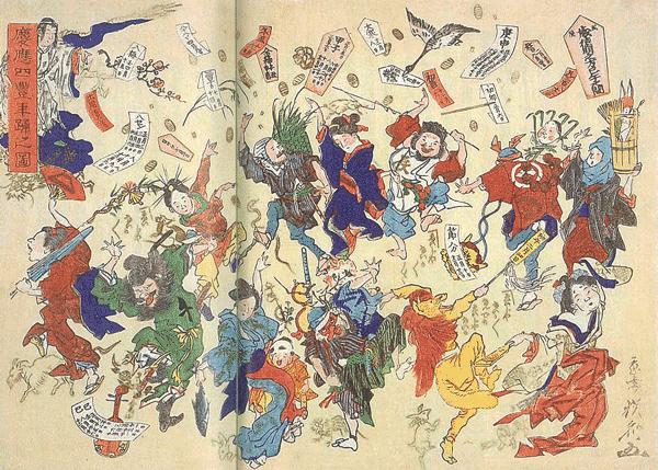 「フランス人画家が描いたイラスト慶応2年の正月、祝賀のために登城した家臣たちとの謁見の様子。」の画像検索結果