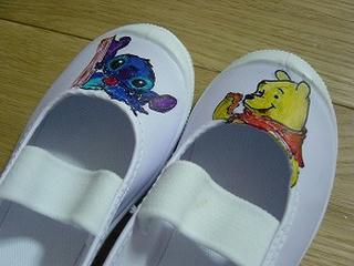 スティッチとぷーさんの手書き上靴
