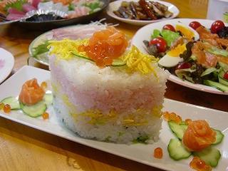 菱餅型の押し寿司