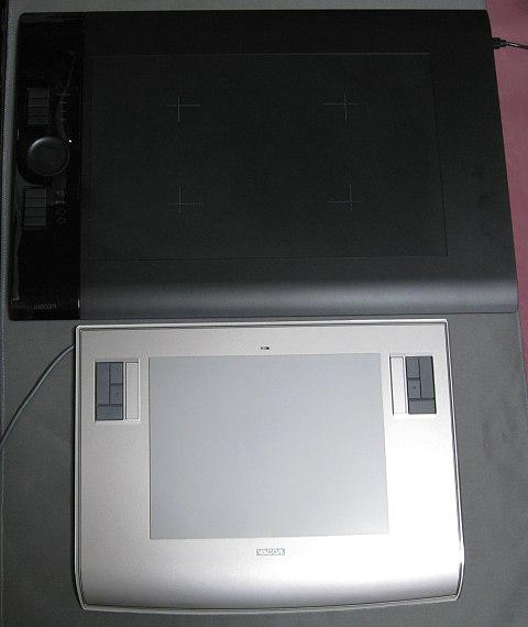 intuos4PTK-840とintuos3PTZ-630の大きさ