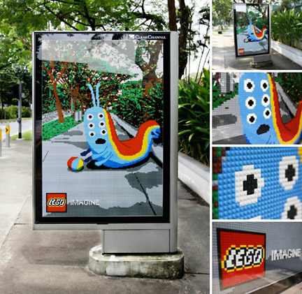 実際のLEGOを使用したLEGOの広告
