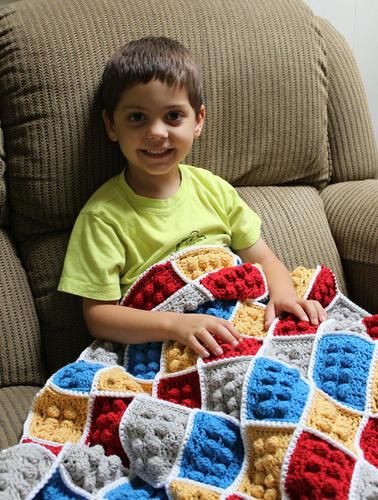 手編みのLEGO毛布