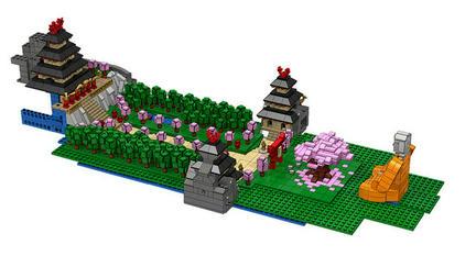 LEGOの城と鳥居と大仏と