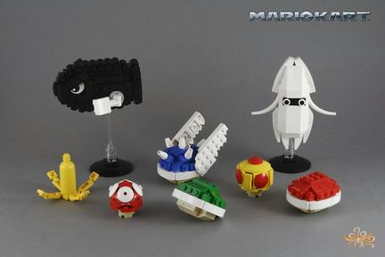 LEGOでつくられたマリオカートのアイテムたち