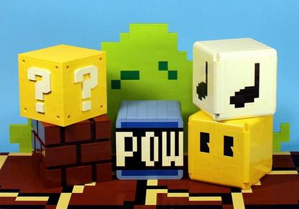 LEGOで作った『スーパーマリオ』のブロックたち