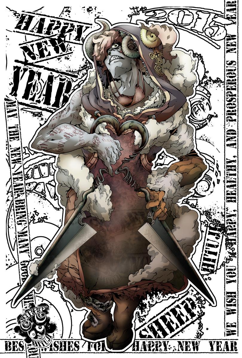 年賀状2015 羊刈