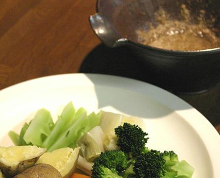 温野菜をゴマダレで
