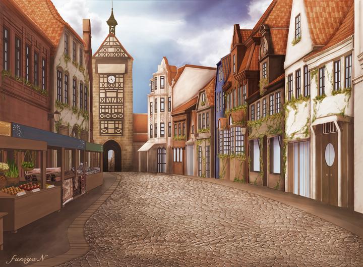 古き良きヨーロッパ風の目抜き通りを描いた風景画 ...