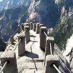 中国の名勝黄山にあった、恐怖の道