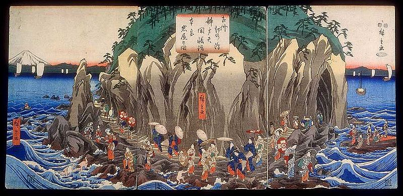 800px-Hiroshige_Pilgrimage_to_the_Cave_Shrine_of_Benzaiten.jpg