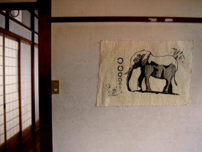 玄関に飾った手書きの象