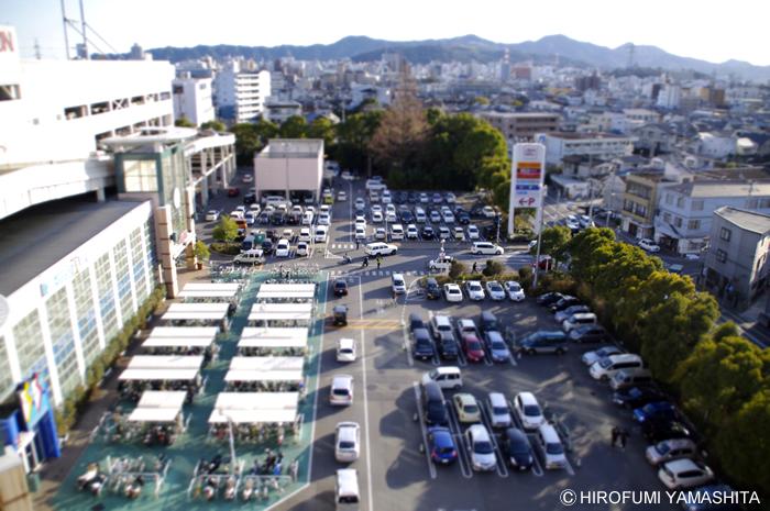 高知ミニチュア撮影計画(イオン高知の駐車場から)