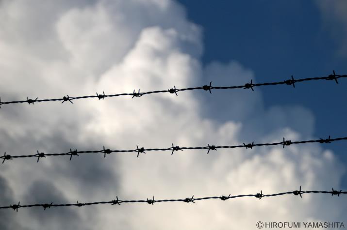 有刺鉄線と入道雲の空