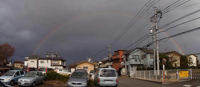 3月31日大荒れの空に出た虹