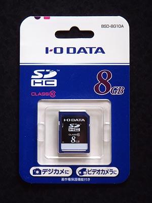 オリンパスSZ-16に使用しているI-O DATA SDカード 8GB Class10 BSD-8G10A