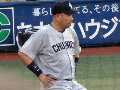 試合前の練習中の小田選手