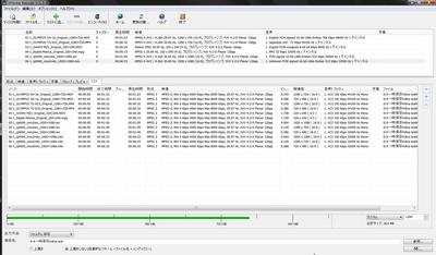 Xmedia Recode変換前と変換後の動画情報リスト