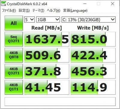 Surface laptop2のCristalDiskMark