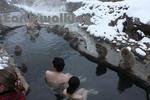 後楽館の露天風呂でお猿と混浴