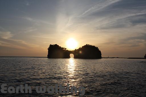 「円月島」の夕陽