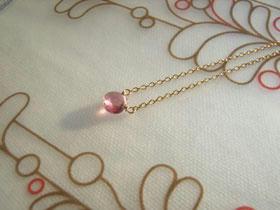 ピンクトルマリン一粒ネックレス