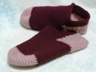 かぎ針編みのくつした