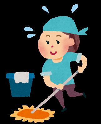 自主的に掃除する保育士