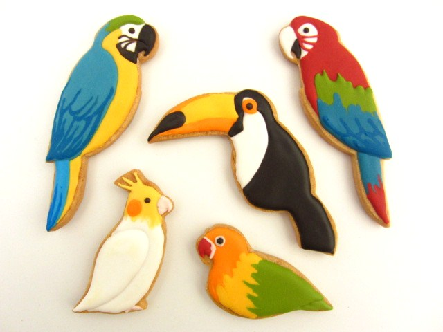 アイシングクッキー:オウム&インコ