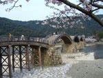 朝日を浴びる錦帯橋