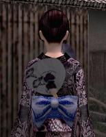 団扇飾り・黒(女)