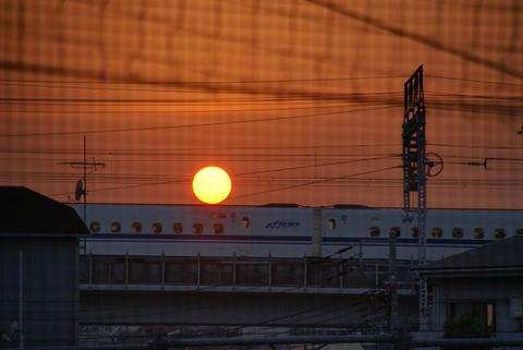 夕日、新幹線に乗る