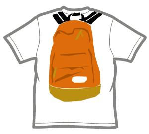 背中にリュックサックがプリントされたTシャツ