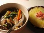 【青梗菜と小松菜の旨煮】と【タラポテチーズ】