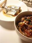 【アジの漬け丼と秋刀魚の味噌煮】