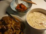 【ナス鶏カレーもやしと茶碗蒸しとかぼちゃの煮物】