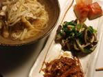 【茄子ともやしの味噌汁素麺と3種盛り】