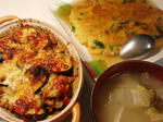 【あんかけニラ玉と茄子チーズカレー焼】