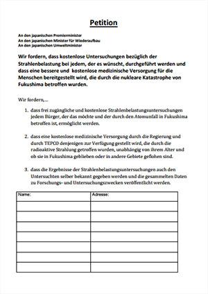 放射能健康診断100万人署名運動 ドイツ語版