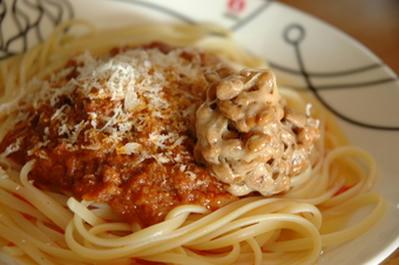 納豆+ミーソーススパゲティ