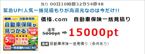 価格.com 自動車保険一括見積りで1,500円